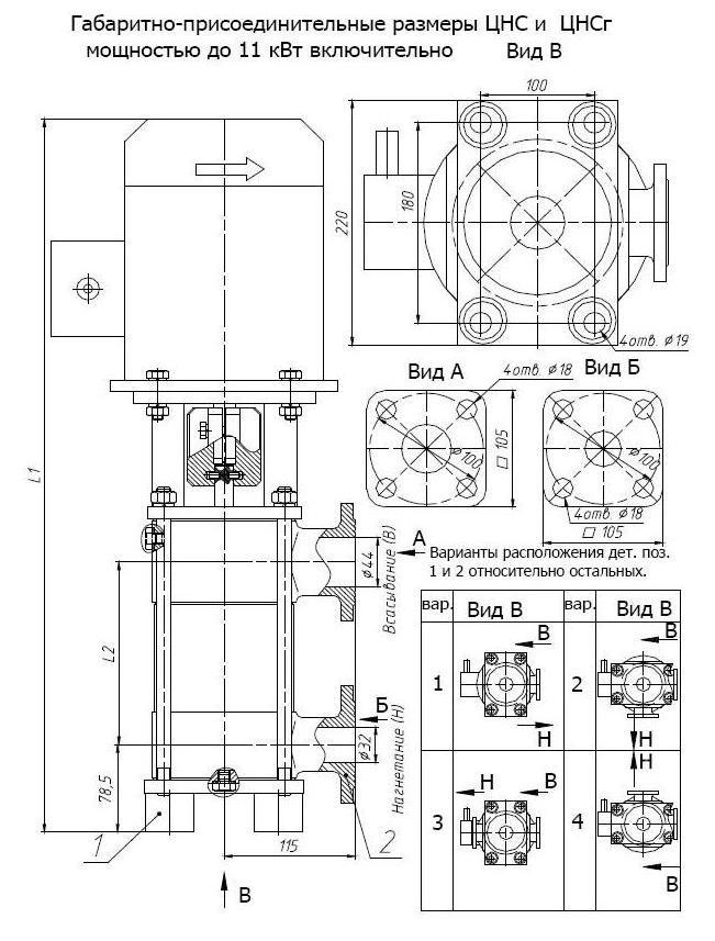 Габаритные и присоединительные размеры НМШГ20-25-14/10-1